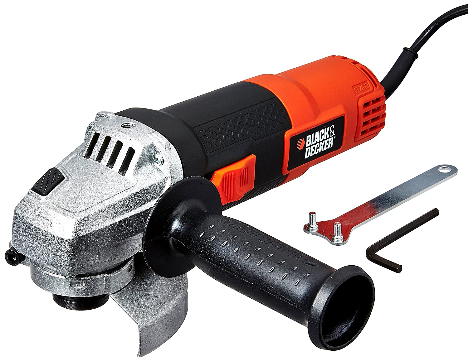 BLACK + DECKER G720 820W 4''/100mm Small Angle Grinder (Red & Black)