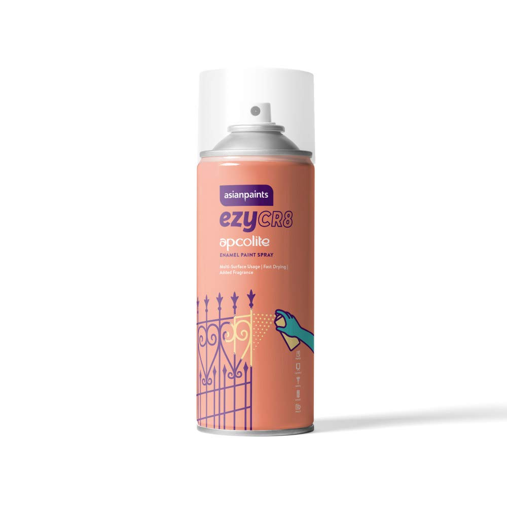 Asian Paints 98040801120 Spray Paint, Black Gloss Finish 200 ML